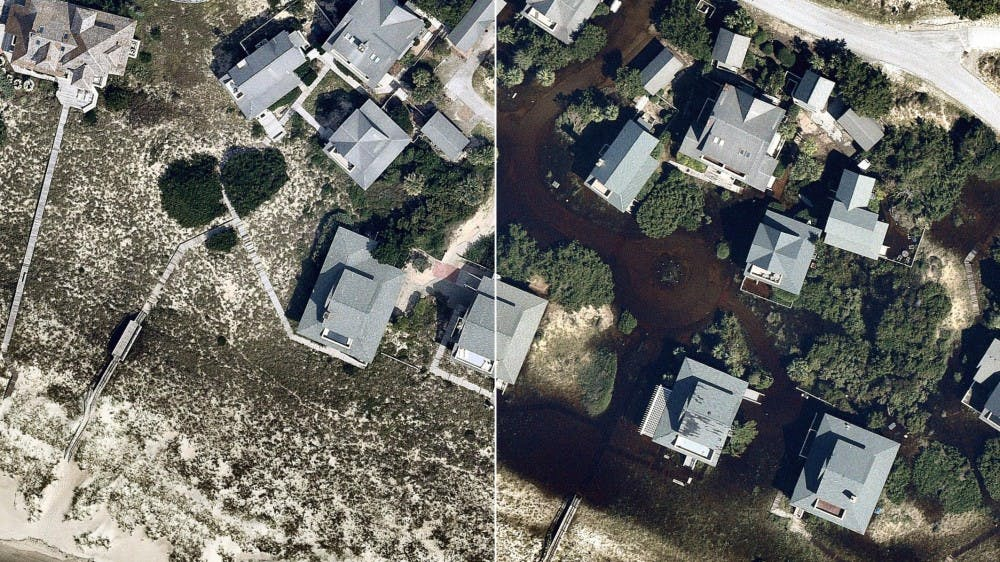 <p>Aerial image of a neighborhood in Southport, North Carolina before and after Hurricane Florence. The storm killed at least 42 people and caused damage and flooding throughout the East Coast. <strong>AP Photo</strong></p>