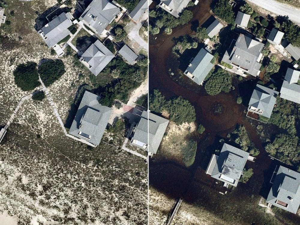 Aerial image of a neighborhood in Southport, North Carolina before and after Hurricane Florence. The storm killed at least 42 people and caused damage and flooding throughout the East Coast. AP Photo