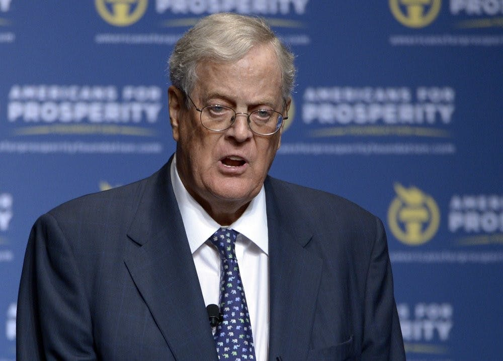 FILE - In this Aug. 30, 2013 file photo, David Koch speaks in Orlando, Fla. Koch, major donor to conservative causes and educational groups, has died on Friday, Aug. 23, 2019. He was 79. (AP Photo/Phelan M. Ebenhack, File)