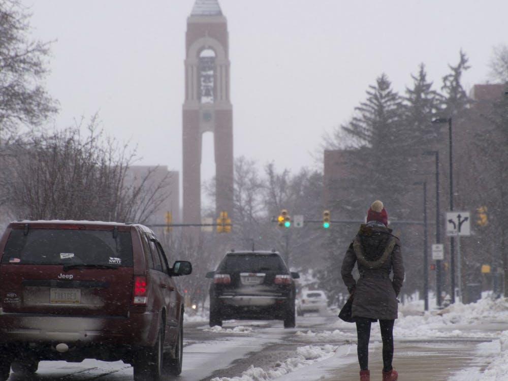 Nadja Rottmann, an exchange student, walks through campus on Jan. 10. DN PHOTO SAMANTHA BRAMMER