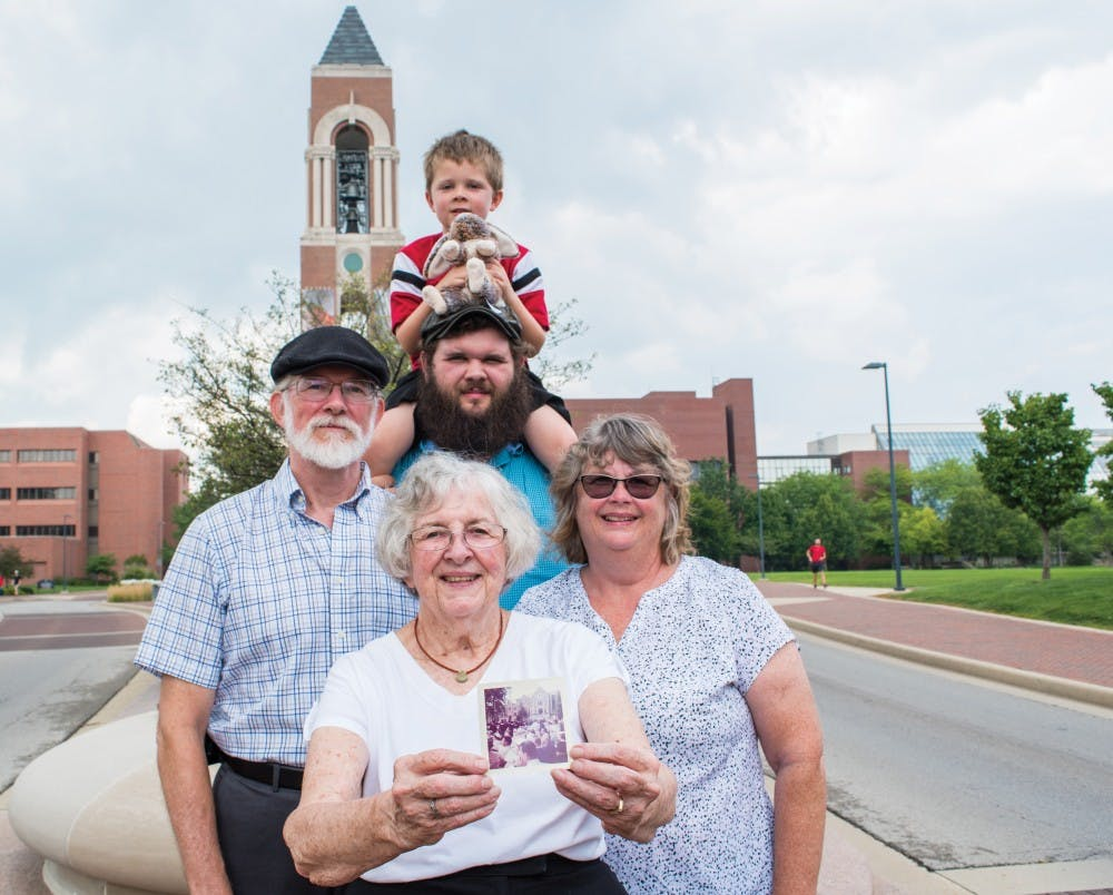 The Largent family, who all graduated from Ball State, gathered in front of Shafer Tower Aug. 12. Stephanie Amador, DN