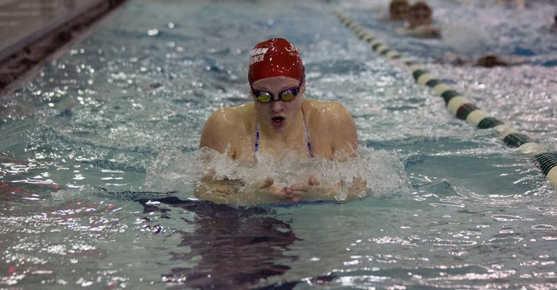Yorktown high school swimmer Emily Weiss practices her breaststroke at Yorktown High School January 28, 2019. At the Indiana High Schoo State championships last year, Weiss broke the National High School record in the 100 yard breastsroke with a time of 58.40 seconds.