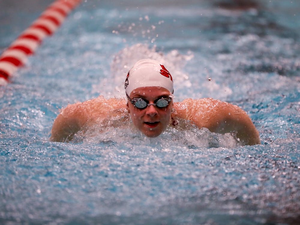 A Ball State swimmer  races during the 100 fly against Toledo Jan. 16, 2020, at LeWellen Aquatics Center. The women's next meet is Jan. 18 against Indiana State and Youngstown State. Jacob Musselman, DN