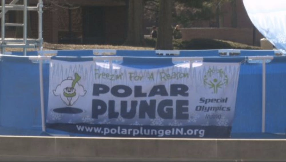 Special Olympics put up a pool on Ball State's University Green for the Polar Plunge on Saturday, Feb. 22.