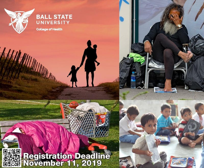 This is a poster used for Ball State's College of Health interprofessional poverty simulation (COHIPPS) event to be held Nov. 18, 2019, at the Alumni Center. Students can no longer register, but may add their names to the waiting list. Ball State College of Health, Photo Courtesy