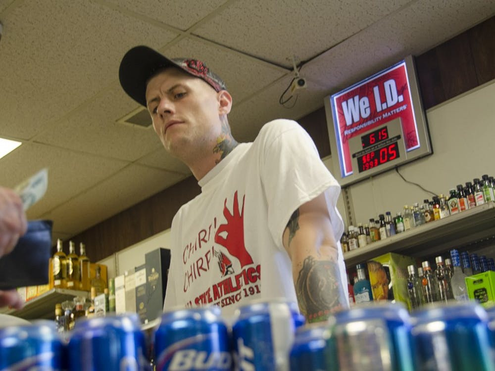 Indiana is currently the only state that allows restaurants and bars to sell alcohol, but prohibits carryout from any establishment. Due to this Blue Law, places like Muncie Liquors cannot operate on Sundays. DN FILE PHOTO CHRISTOPHER STEPHENS