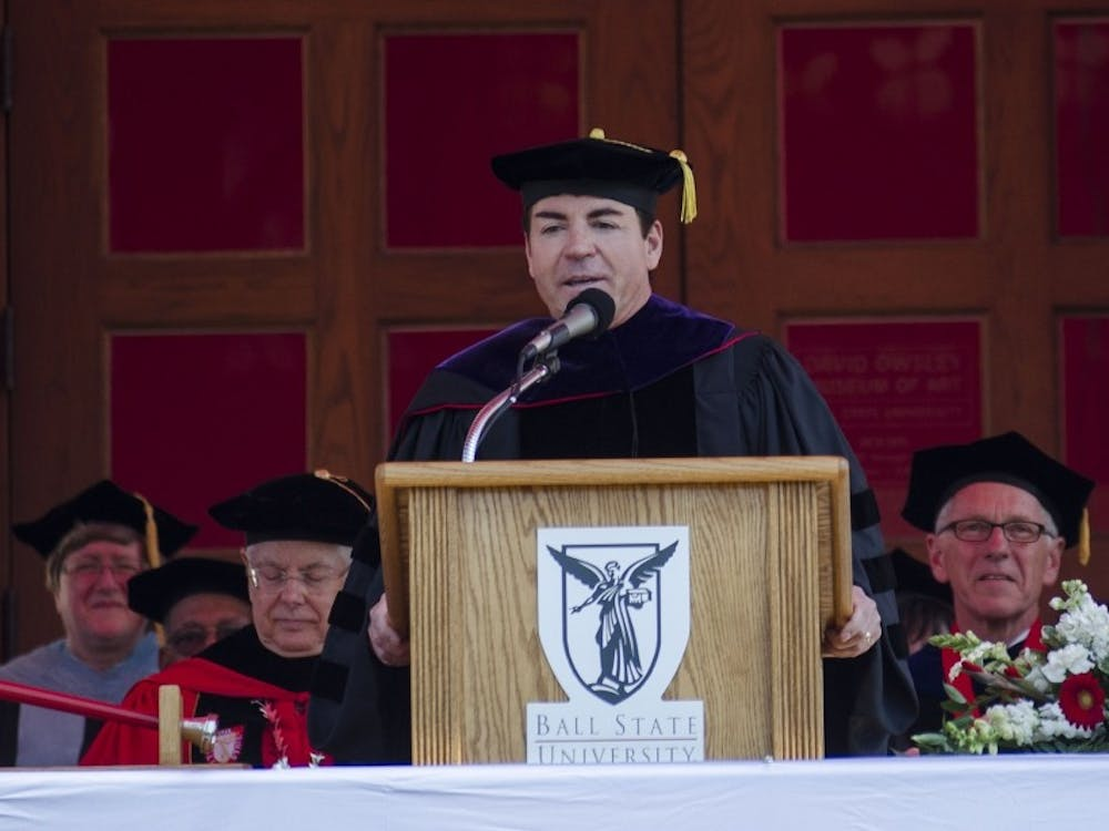 Alumnus John Schnatter gives a commencement speech at the 2015 Spring Graduation ceremony. DN File