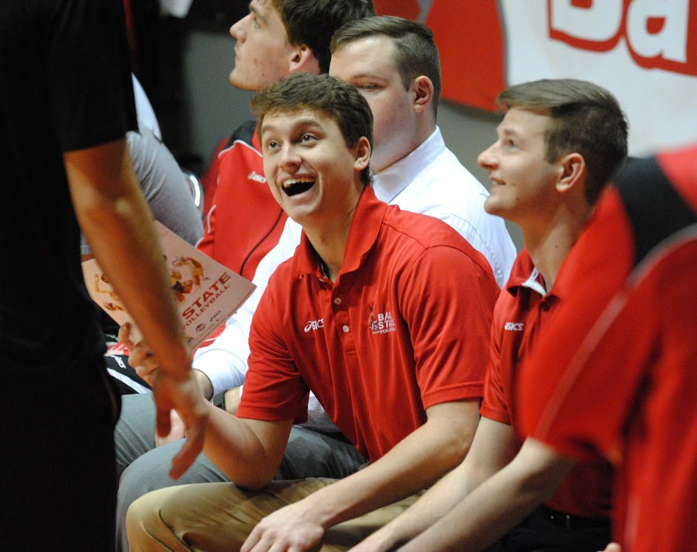 <p>Shane Witmer laughs on the bench during a match this season. Witmer&nbsp;serves as a volunteer coach for the Ball State men's volleyball team after playing four years.&nbsp;<em>DN PHOTO ALLISON COFFIN</em></p>