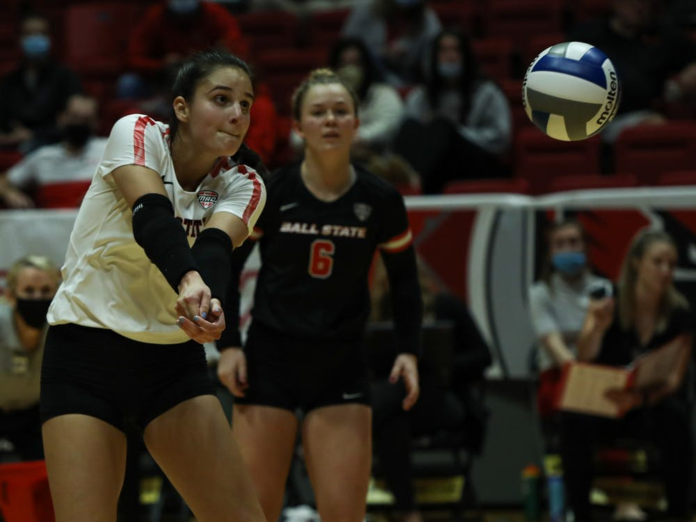Junior outside hitter Natalie Risi bumps a pass against Northern Illinois at Worthen Arena on Oct. 15. Risi, who played the previous eight weeks at libero, move to outside hitter for the match due to graduate student outside hitter Emily Hollowell's absence. The Cardinals went on to sweep the Huskies to extend their win streak to six matches. Jacy Bradley, DN