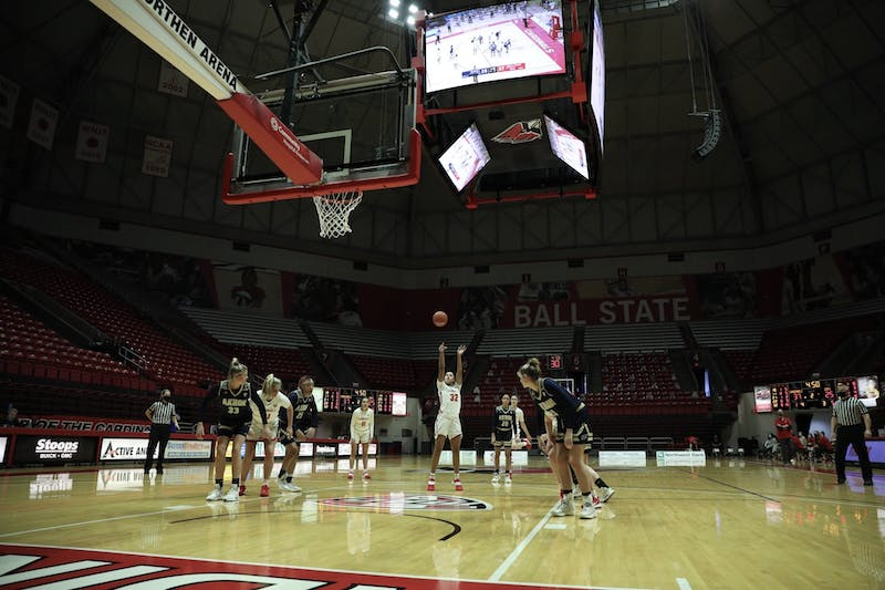Cardinals senior forward Oshlynn Brown shoots a free throw Feb. 6, 2021, at John E. Worthen Arena. The Cardinals lost 89-84 to the Zips. Jacob Musselman, DN