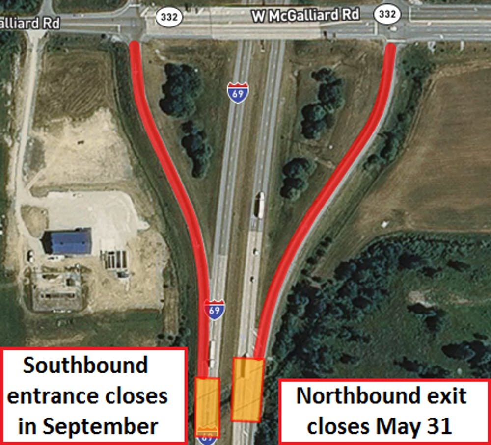 30-day closure of I-69 exit to McGalliard Road to start