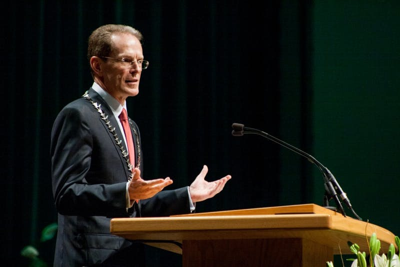 Ball State President Geoffrey S. Mearns gives a speech on Sept. 8 at the Installation of Geoffrey S. Mearns in John R. Emens Auditorium. Mearns is the 17th President of Ball State University. Kaiti Sullivan, DN File