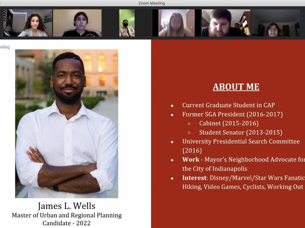 James Wells introduces himself to senators at the Sept. 2 SGA meeting. Wells was voted into the at-large caucus two weeks before he introduced a resolution for Delaware County to adopt a vote center model for elections. Grace McCormick, Screenshot Capture.