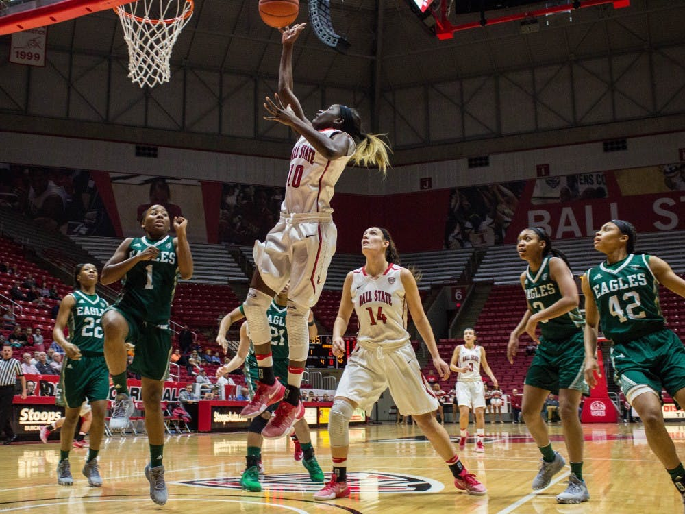 Ball State guard Calyn Hosea shoots a layup during the game against Eastern Michigan on Jan. 18 in Worthen Arena. The Cardinals won 78-49. Grace Ramey // DN