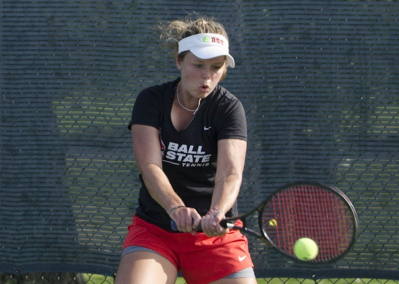Alumna Bethany Moore hits the ball during her singles match against Butler for the Fall Dual on Sept. 20, 2015 at the Cardinal Creek Tennis Center. Breanna Daugherty, DN File