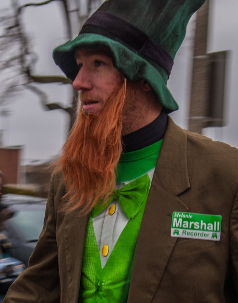 Muncie residents endured snow, rain and hail to receive candy at the annual St. Patrick's Day Parade, March 17. Madeline Grosh, DN