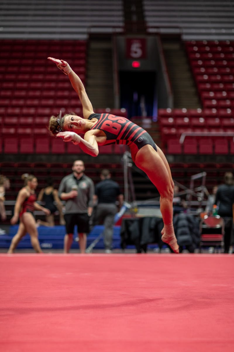 Ball State Senior, Maddie Macdonald competes in the floor routine during the gymnastics home opener, Jan. 26, 2020 in John E. Worthen Arena. The Cardinals secured a win by putting up 194.2 points. Paul Kihn, DN