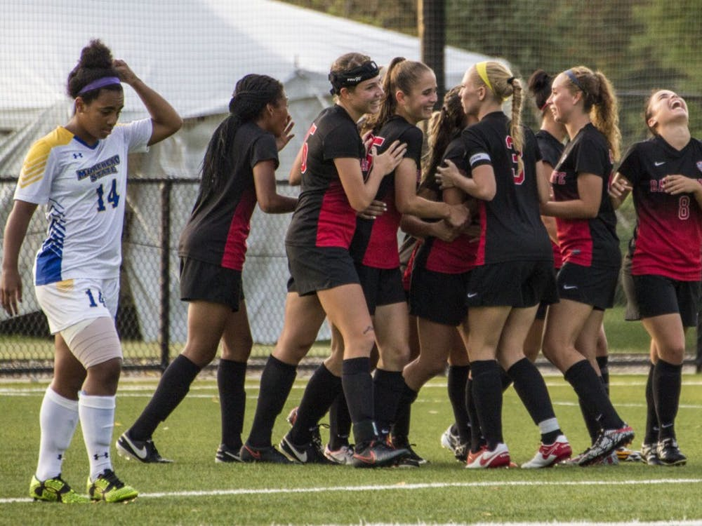 The Ball State soccer team celebrates a goal made by forward Kelsey Wendlandt during the game against Morehead State on Sept. 16 at the Briner Sports Complex. Ball State won 4-0. Grace Ramey // DN