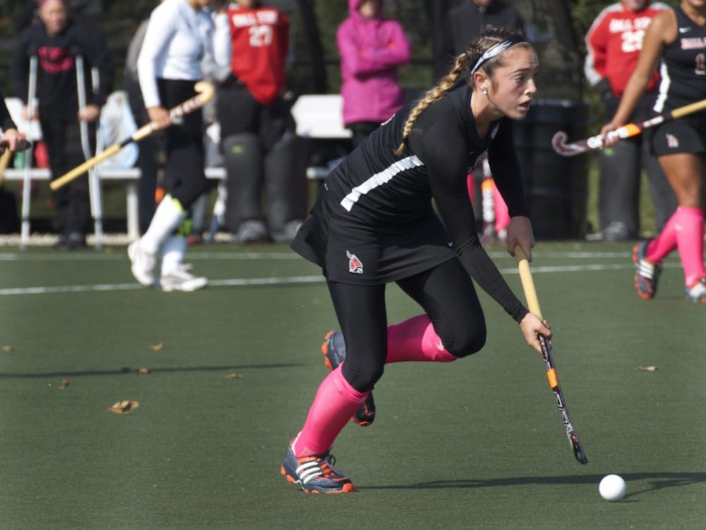 Ball State freshman Lexi Kavanaugh advances the ball up the field against Ohio University on Oct. 26 at the Briner Sports Complex. The Cardinals will travel to Indiana University for a match beginning at 1 p.m. Sunday. DN PHOTO MARCEY BURTON