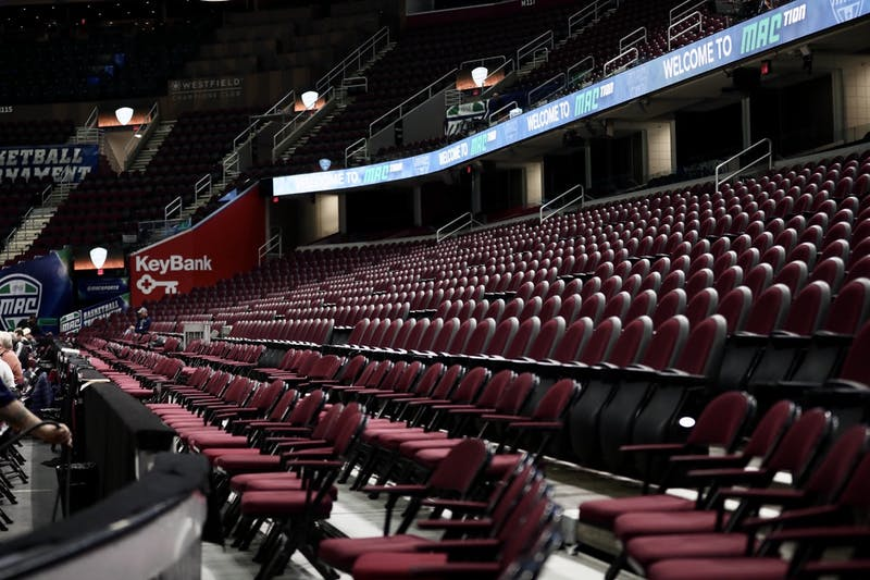 The rows of seats sit empty March 12, 2020, at Rocket Mortgage FieldHouse in Cleveland, Ohio. The MAC Tournament was cancelled due to concerns with the Coronavirus. Jacob Musselman, DN