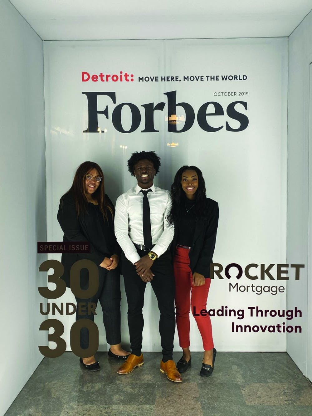 <p>Senior Kaylah Bell (left), junior Aric Fulton Jr. (middle) and senior Tazia Williams (right) attend the Forbes Under 30 Summit Oct. 27-30 in Detroit. Bell, Fulton and Williams were three of 1,000 students selected to receive a scholarship which paid for the fee to attend the conference. Aric Fulton, Photo Provided</p>