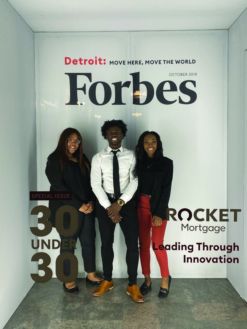 Senior Kaylah Bell, junior Aric Fulton and senior Tazia Williams attend the Forbes Under 30 summit Oct. 27-30 in Detroit. Bell, Fulton and Williams were three of 1,000 students selected to receive a scholarship which paid for the fee to attend the conference. Aric Fulton, Photo Provided