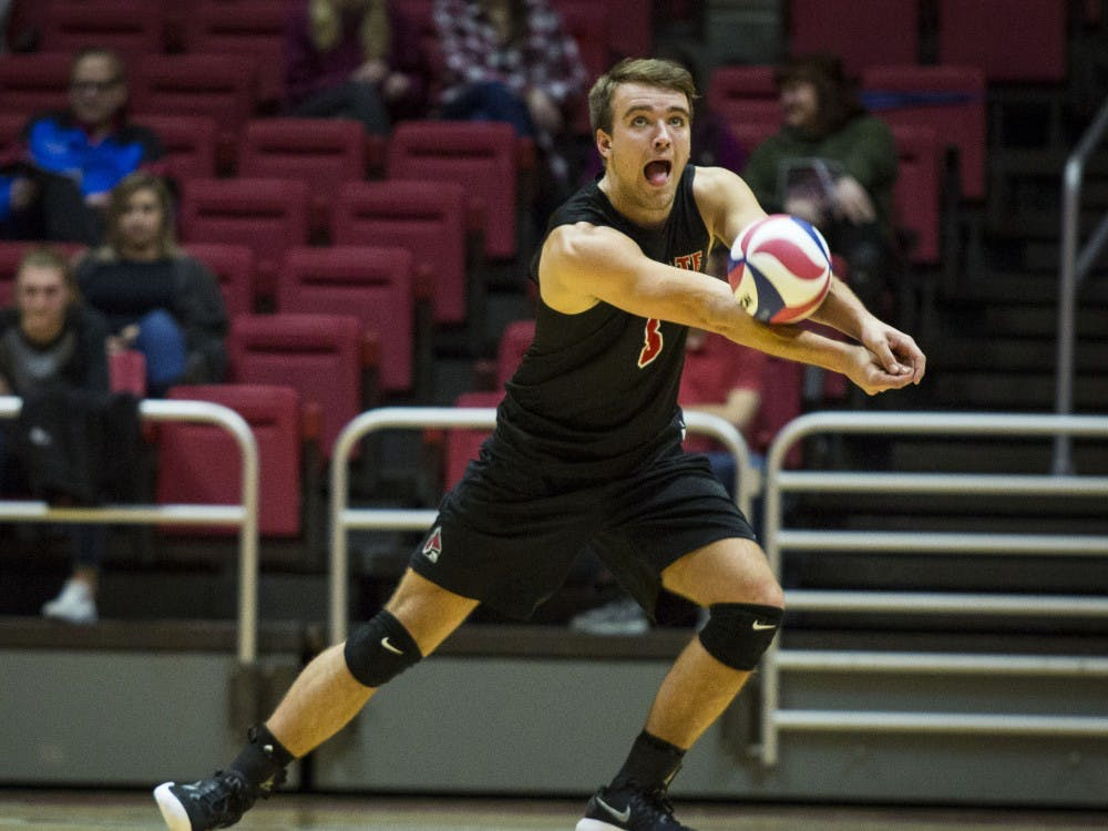Ball State mens volleyball played Harvard on Jan. 20 in John E. Worthen Arena. The Cardinals won 3-1.