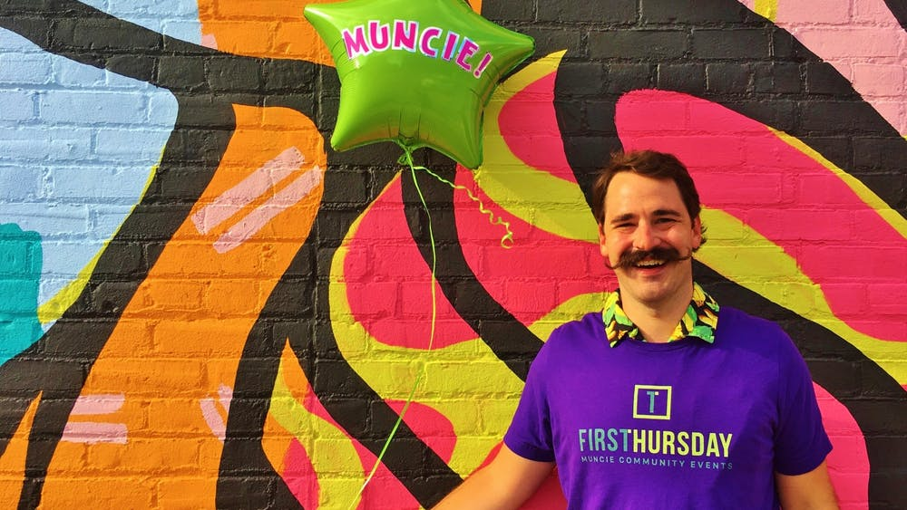 Artist Ben Fulcher poses with a balloon for Muncie's First Thursday event. The event went virtual for the months of April and May amid COVID-19 restrictions. Natalie Phillips, Photo Courtesy