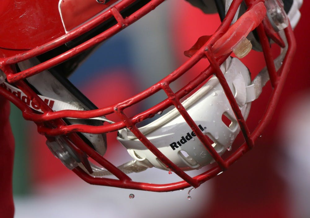 <p>Water drips off Ball State freshman safety Malcolm Lee's helmet during the Cardinals' game against Eastern Michigan Oct. 20, 2018, at Scheumann Stadium. Ball State lost 42-20 on Homecoming. Paige Grider, DN</p>