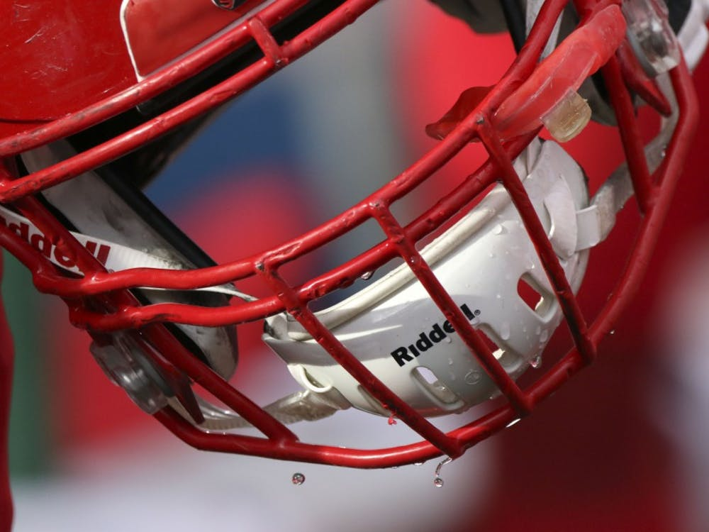 Water drips off Ball State freshman safety Malcolm Lee's helmet during the Cardinals' game against Eastern Michigan Oct. 20, 2018, at Scheumann Stadium. Ball State lost 42-20 on Homecoming. Paige Grider, DN