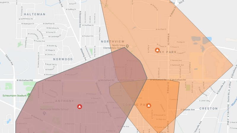 Around 3,000 customers of Indiana Michigan Power reported power outages a little after 2 p.m. on Oct. 12, 2019, north of Ball State and in neighborhoods in north Muncie. An I&M representative said the cause of the power outage is still being investigated. Indiana Michigan Power, Photo Courtesy