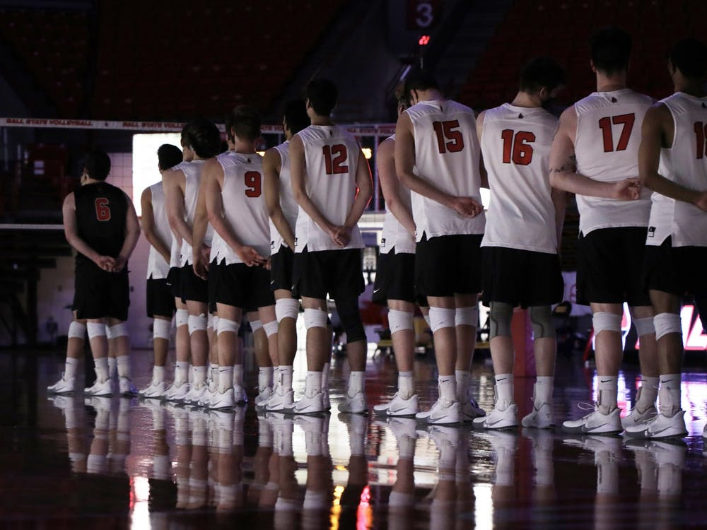 The Ball State men's volleyball team stand for the national anthem before a game against Ohio State Feb 27, 2021, in John E. Worthen Arena. The Cardinals lost 3-2 to the Buckeyes. Rylan Capper, DN