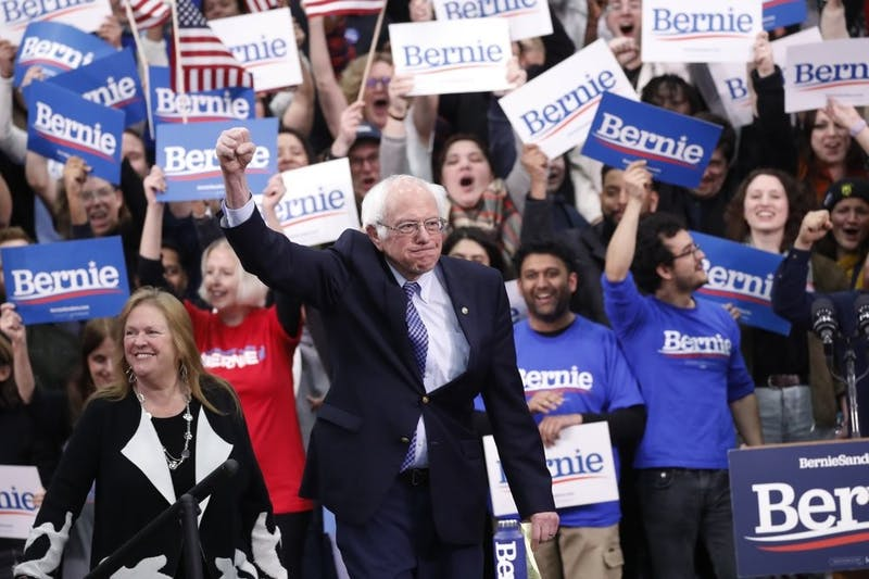 Democratic presidential candidate Sen. Bernie Sanders, I-Vt., with his wife Jane O'Meara Sanders, arrives to speak to supporters at a primary night election rally Feb. 11, 2020, in Manchester, N.H. (AP Photo/Pablo Martinez Monsivais)