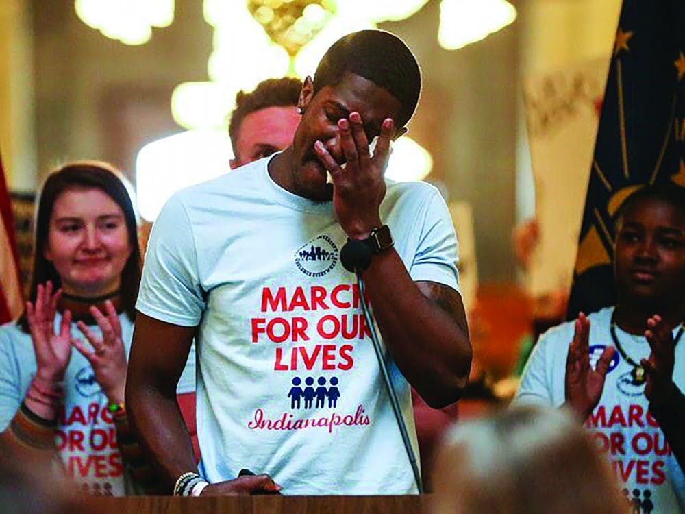 Freshman business adminstration major Brandon Warren speaks during the Indianapolis March For Our Lives event March 24, 2018. Warren's organization, We LIVE, will host the 2019 Indianapolis March For Our Lives. Brandon Warren, Photo Provided.