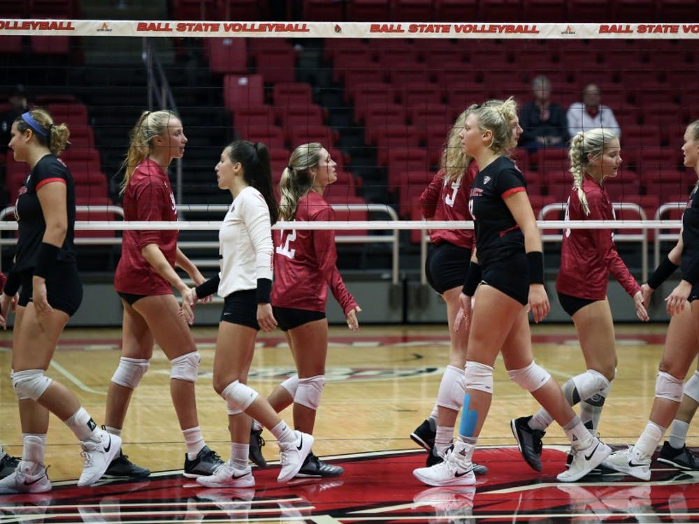 The IU Women's Volleyball team shakes hands with the Ball State Women's Volleyball team Saturday, Sept. 8, 2018, at Worthen Arena. IU won three sets to two. Jacob Haberstroh,DN.