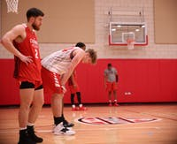 Redshirt senior guard Tayler Persons and redshirt freshman center Blake Huggins take a quick breather during a practice at Dr Don Schondell Practice Center on Nov 29, 2018. Jack Williams,DN