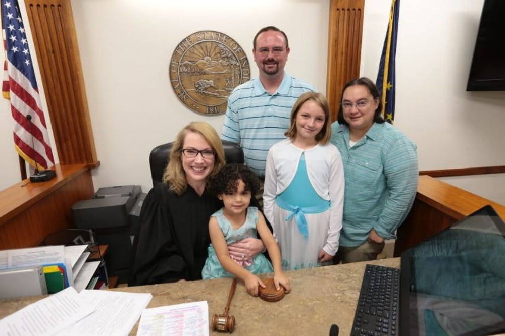 The Saylor Family on August 17, 2018 when Ella and Emma were adopted.