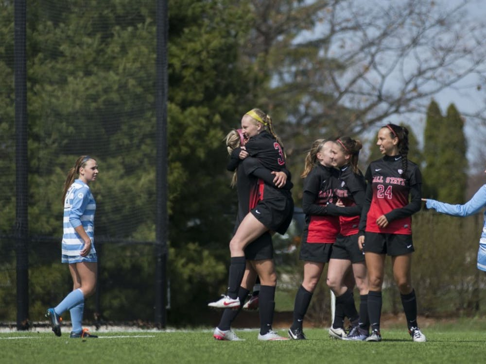 The Ball State soccer team started their season off with a double-header on March 19 at the Briner Sports Complex. Ball State won both matchesagainst Spring Arbor, 3-0, and Tiffin University 5-0. DN PHOTO BREANNA DAUGHERTY