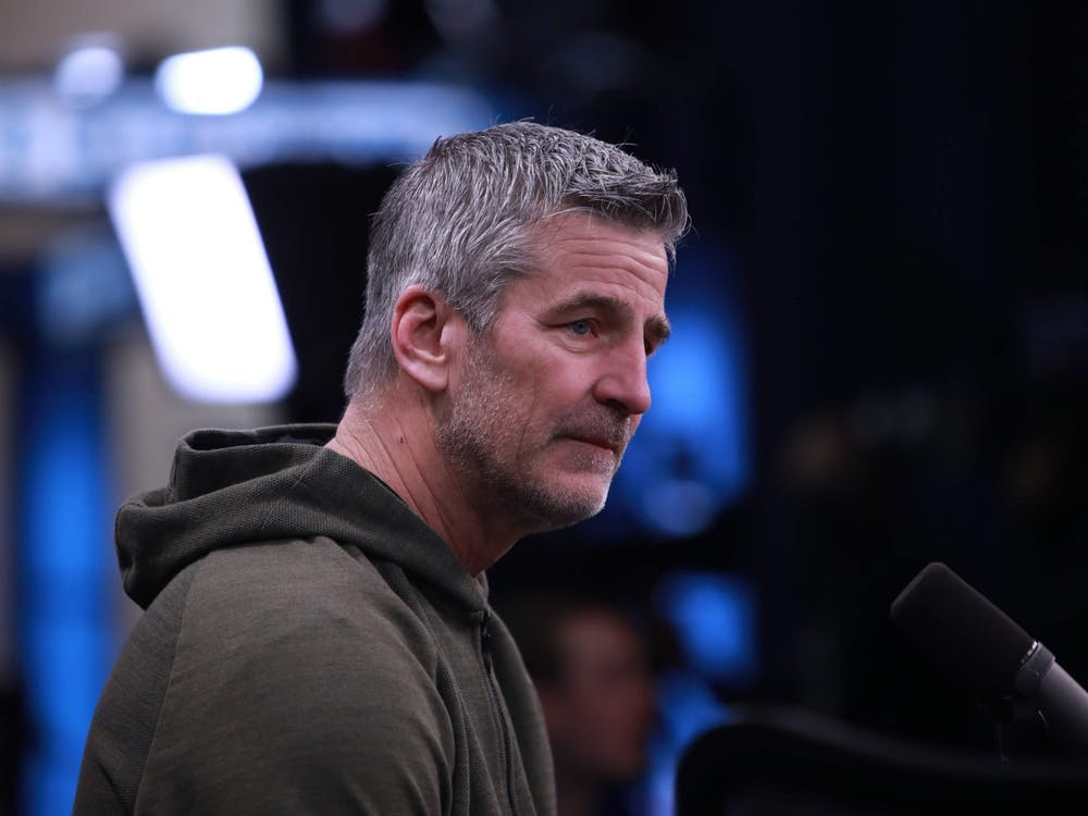 Indianapolis Colts Head Coach, Frank Reich interviews Pro Football Focus Host, Mike Florio Feb. 28, 2020, in Indianapolis. Reich has been the Colts head coach since 2018. Jacob Musselman, DN