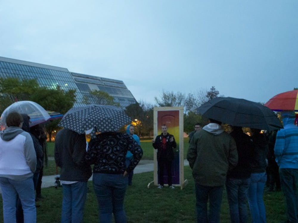 Students gathered on the University Green beside Shafer Tower on Oct. 10 in honor of National Coming Out Day.
