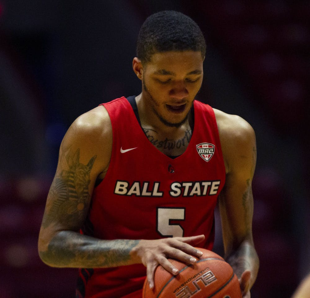 <p>Senior guard Ishmael El-Amin preparing for a free throw Feb. 27, 2021, in John E. Worthen Arena. The Cardinals won 97-91 against the Chippewas. <strong>Grace Walton, DN</strong></p>