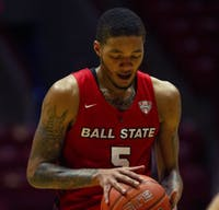 Senior guard Ishmael El-Amin preparing for a free throw Feb. 27, 2021, in John E. Worthen Arena. The Cardinals won 97-91 against the Chippewas. Grace Walton, DN