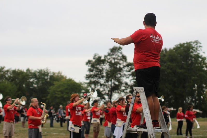 Keith Tye, a junior music education major, directs the Ball State band at Lafollette Field on September 1, 2017. Tye is a drum major for the band. Cassidy Knowling, DN
