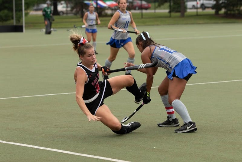 Freshman midfielder, Libby Kraus (10) gets knocked down by Junior midfielder Mica Diaz (19) in a game at Briner Sports Complex on Sept. 6, 2019. Jacob Musselman, DN