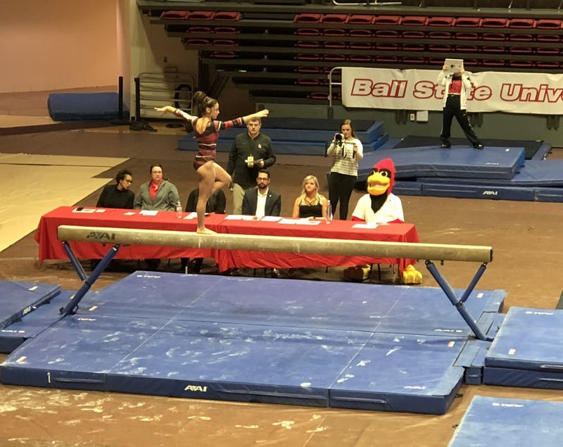 Ball State Gymnastics hosted its annual Red vs. White scrimmage Monday. Athletes were split up, and scores were given by guest judges after each event. Drew Pierce, DN