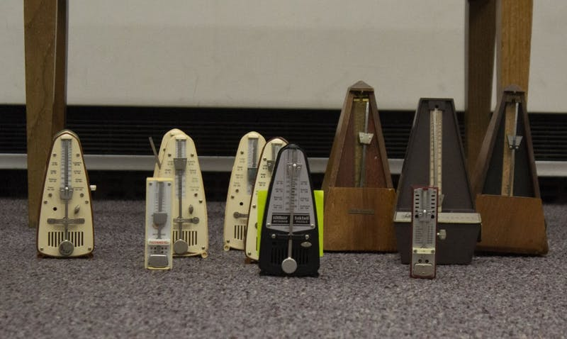 "Amelia Kaplan, associate professor of music composition, is tracking down 100 metronomes for a concert Dec. 6, 2018, in Sursa Performance Hall. The piece, ""Poéme Symphonique,"" utilizes 100 mechanical metronomes in a single musical composition. Patrick Murphy, DN"