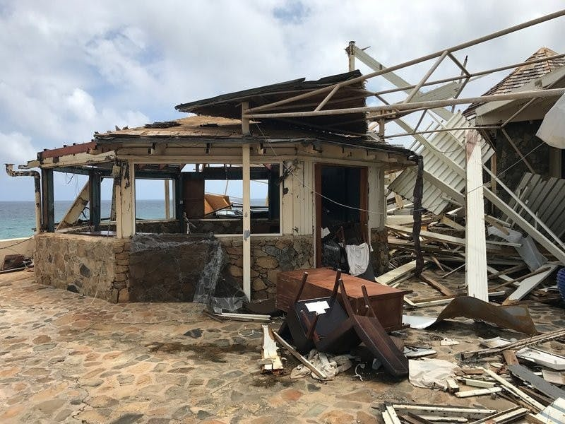 This Sept. 14, 2017 photo provided by Guillermo Houwer on Saturday, Sept. 16, shows storm damage to the Biras Creek Resort in the aftermath of Hurricane Irma on Virgin Gorda in the British Virgin Islands. Guillermo Houwer, Associated Press