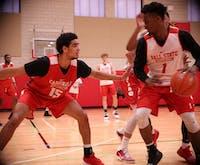Sophomore forward Zach Gunn defends redshirt junior guard K.J. Walton during a practice at Dr. Don Schondell Practice Center on Nov 29, 2018. Jack Williams,DN