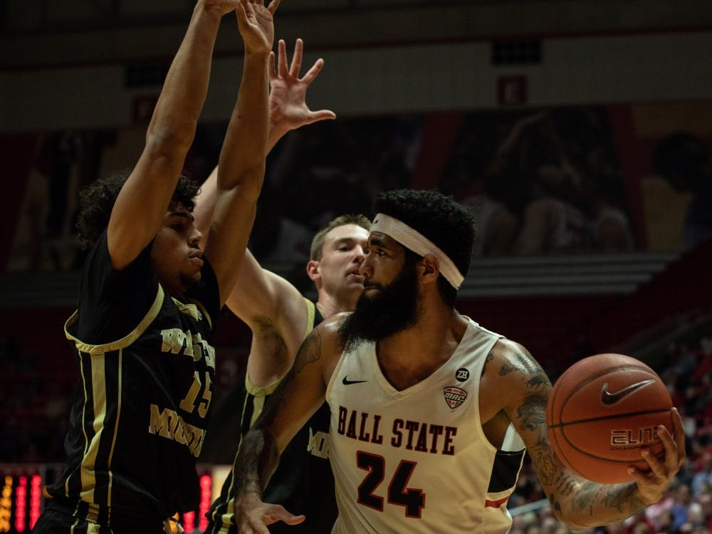 Senior center Trey Moses goes up for a layup during the first half against Western Michigan Feb. 9, 2019 at John E. Worthen Arena. Ball State won the game 79-59. Rebecca Slezak,DN
