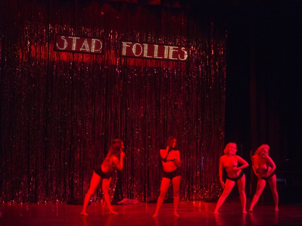 Dancers grace the stage for the Star Follies Burlesque show at Muncie Civic Theatre on Oct. 3. DN PHOTO JORDAN HUFFE